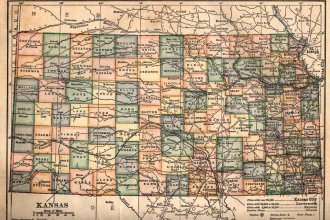 Map of Kansas, circa 1910