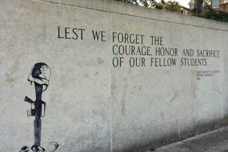KU's Vietnam War memorial honors students and alumni killed or declared missing in Vietnam. (Photo by J. Schafer)