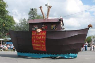 "Noah's Ark, just one of many floats seen at Biblesta, billed as the nation's ""only Biblical parade."""