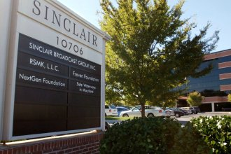 In this Oct. 12, 2004, file photo, Sinclair Broadcast Group, Inc.'s headquarters stands in Hunt Valley, Md. Sinclair Broadcast Group said Monday it's suffered a data breach and is still working to determine what information the data contained.