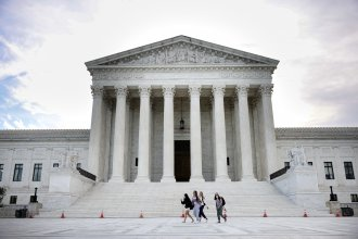The U.S. Supreme Court is seen on Oct. 5, 2021 in Washington, D.C. The court is holding in-person arguments for the first time since the start of the COVID-19 pandemic.