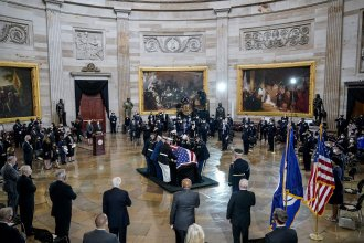 "The casket of the late U.S. Capitol Police officer William ""Billy"" Evans arrives for a memorial service in the Rotunda at the U.S. Capitol on April 13, 2021."