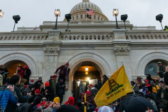 Rioters clash with law enforcement as they attempt to enter the U.S. Capitol on Jan. 6.