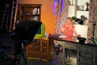 Journalist Masha Borzunova during a taping of the show <em>Fake News</em> in TV Rain's Moscow studios.