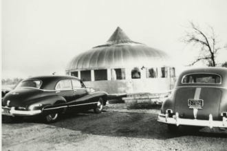 Dymaxion House at its 1948-1991 site, near Andover, Kansas. (Photo from The Henry Ford Museum, where you can now tour the house.)