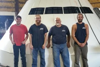 Space capsule mock-up for NASA, under construction in Kipp, Kansas. (Photo Courtesy of Douglas Welding and Machine Company)