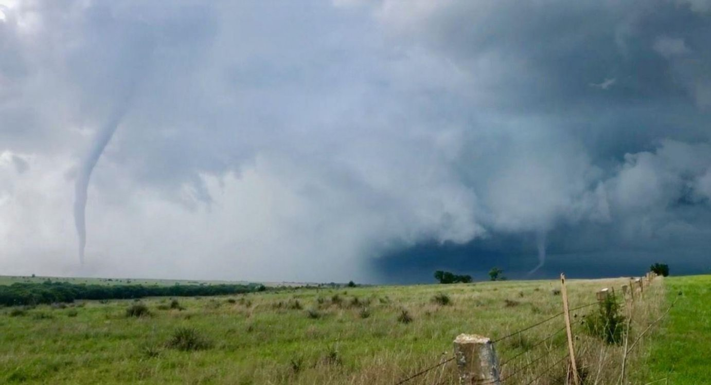 Tornadoes form near Luray, Kansas, in May 2019. (Photo by John Monteverdi for the National Weather Service website)