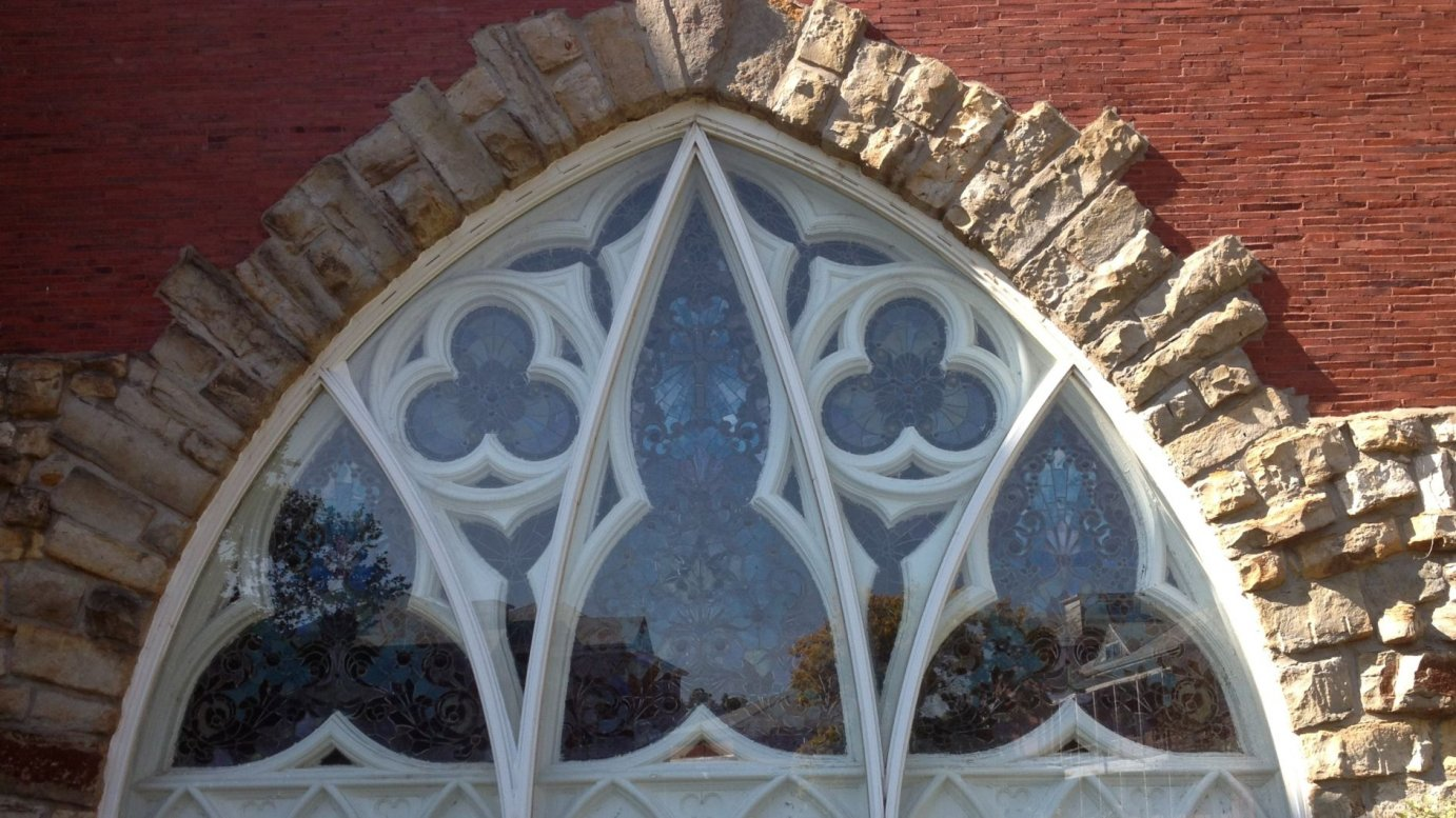 Gothic window into a unique chapel built in Leavenworth in 1873. Protestant services are held in the upper level, Immanuel Chapel, and Catholic Mass is held in the lower level, Holy Ghost Chapel. (Photo by J. Schafer)