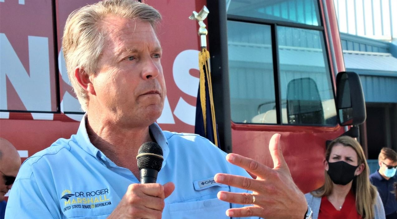 Roger Marshall on the campaign trail. (Photo by Jim McLean, Kansas News Service)
