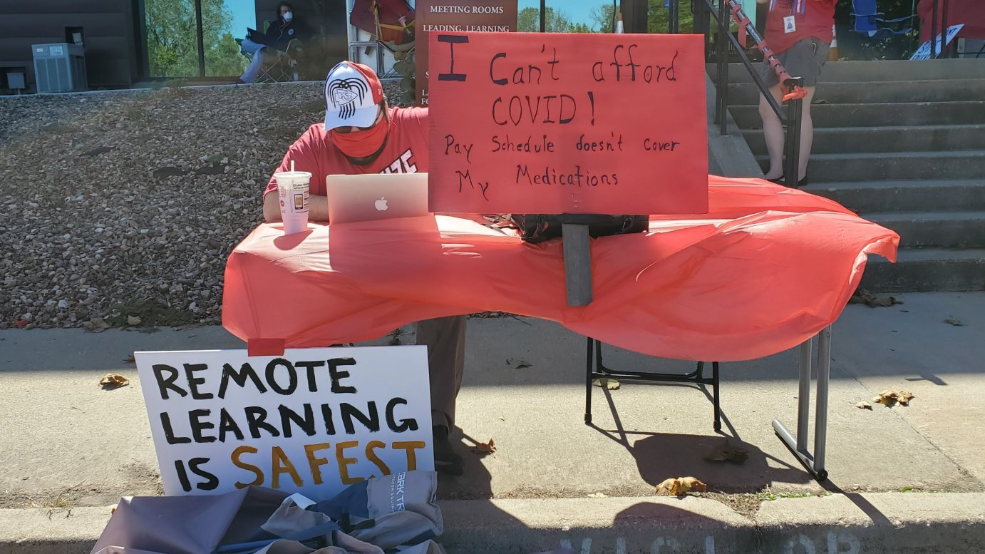 The protest in Lawrence against the start of in-person classes. (Photo by Stephen Koranda)