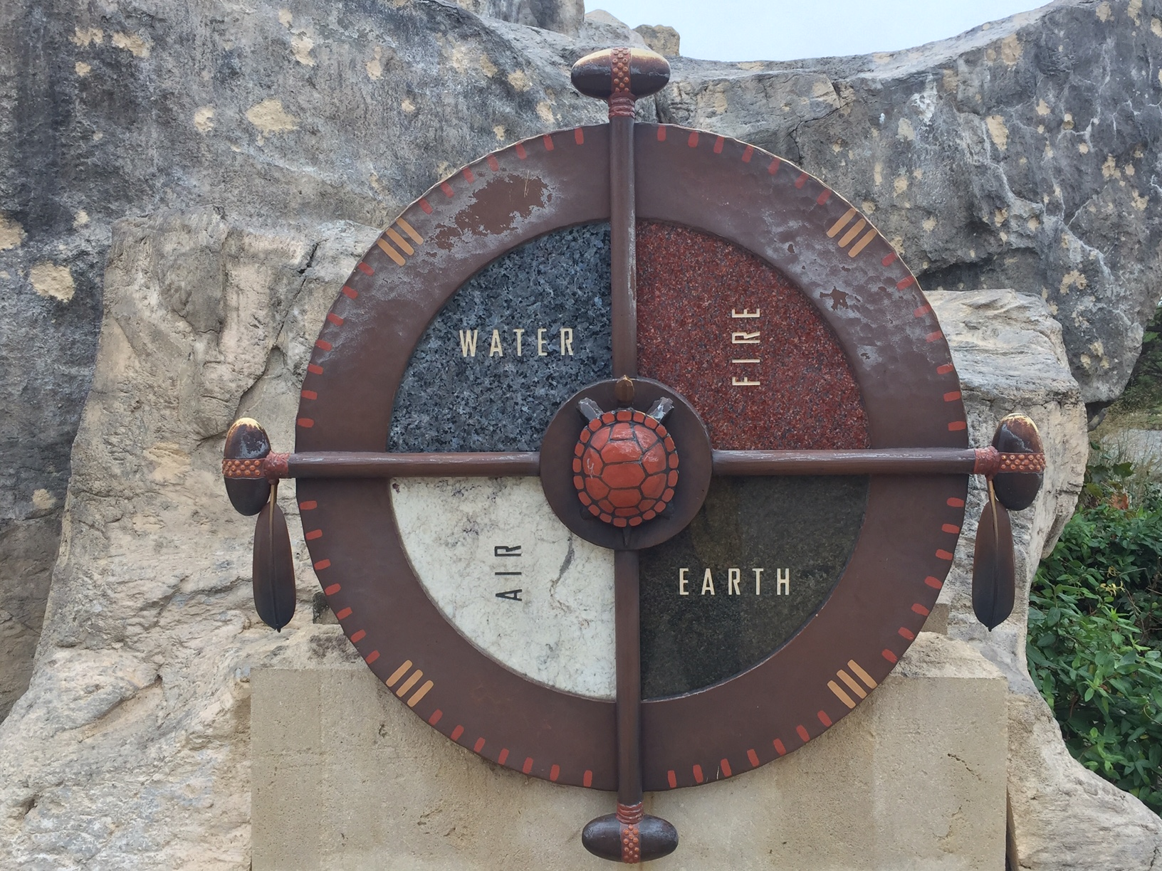 At the base of the Keeper of the Plains is this depiction of the Circle of Life, with its four elements: Water, Fire, Air, Earth. (Photo by J. Schafer)