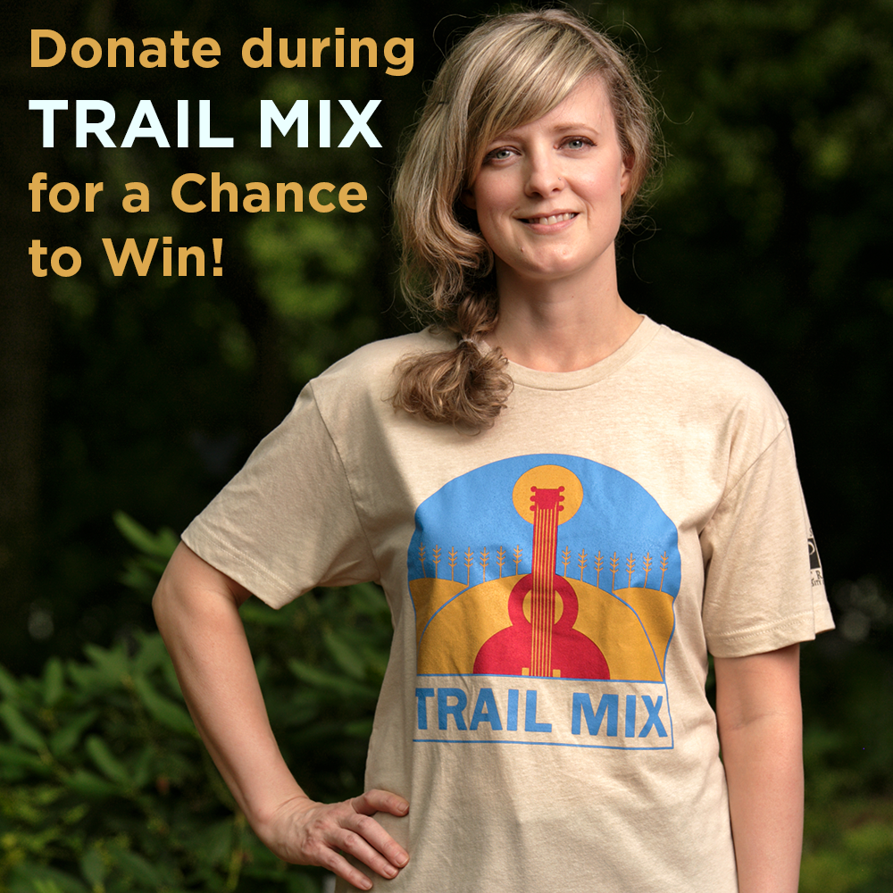 Donate online at kansaspublicradio.org/support or call 888-577-5268 Saturday or Sunday (9/18 or 9/19), 1-4 p.m. to automatically be entered to win this Trail Mix T-Shirt!